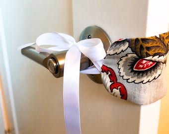 Baby Room Door Muffler | Ribbon Ties | Door Silencer | Door Jammer | Door Latch Muffler | Baby Shower Gift | Baby Nursery | Home Decor