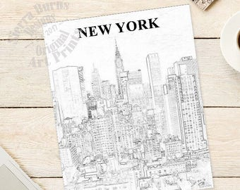 New York Skyline Print, New York Skyline Art, New York City Art, Cityscape Art, City Art, NYC Skyline, New York Art Print, Wall Art
