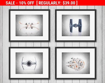 4 Star Wars prints, Star Wars, Star wars wall art, Star wars print, Star wars decor, Star wars art, Star wars poster, boys room decor