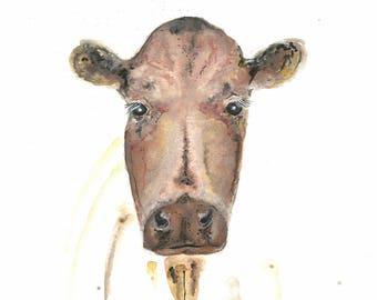 Watercolor Cow Print, Farm Animal, Wall Decor, Print, Fine Art, Painting, Home Decor, Nursery Art Print, Watercolour Print, Brown Cow