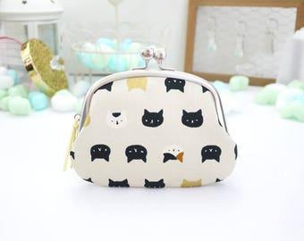 Calico Black Gold cat nekoten clasp frame pouch wallet