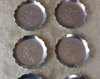 Set of 8 Vintage Silver Metal Rose Engraved Coasters