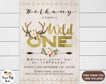 Floral Wild One 1st Birthday Invitation, Antlers Wild One Birthday Invitation, Wild One Birthday Invitation For Girl, Wild One Invitation