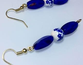 Blue Flower and Lapis Earrings