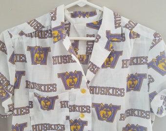 1990s Vintage Washington Huskies womens button down shirt