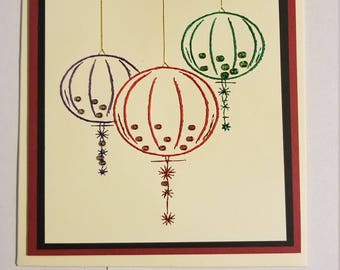Christmas ornaments Stitched card