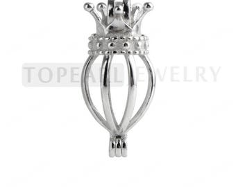 Crown Cage 925 Sterling Silver Love Wish Pearl Pendant CDSWP24 (3 PCS)