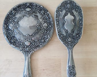Vintage 1950's Silver Plated Mirror and Brush Vanity Set