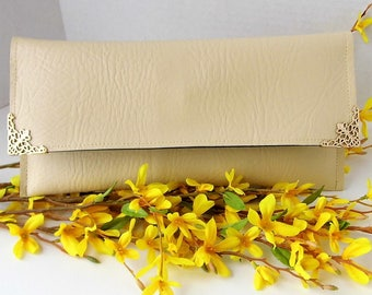 Clutch Purse - Cream Clutch Bag -  Vegan Leather Clutch - Special Occasion Clutch
