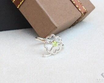 4 Clover leaf ring sterling silver 92.5%