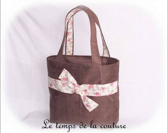 Handmade tote - for - faux - chocolate brown, ecru and pink tones.