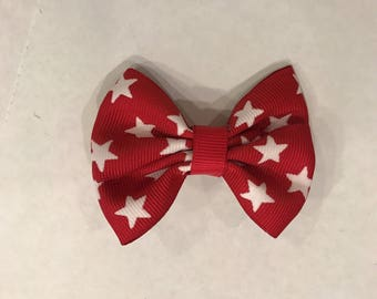 Red and white star hair clip