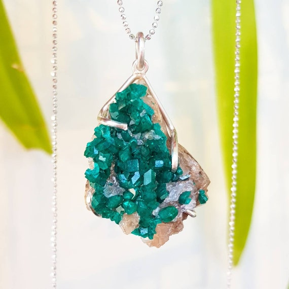 Dioptase necklace dioptase cluster necklace druzy pendant like this item aloadofball Gallery