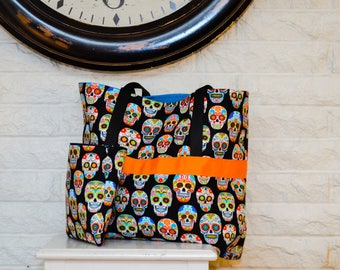 Large Sugar Skull tote bag w/ pouch