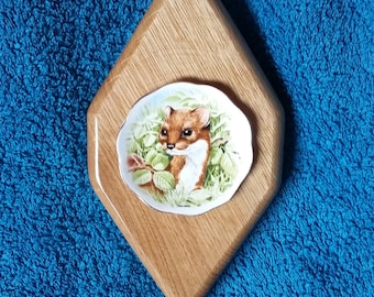 Handcrafted Wooden Diamond Shaped Plaque With Weasel/Stoat Plate Inset - Oak
