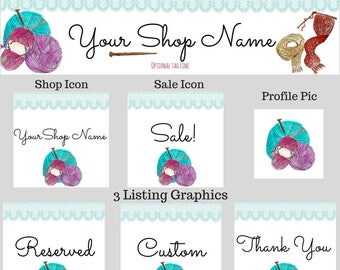 Etsy Shop Set, Knitting Banner, Knitting Cover, Knitting Shop Set, Handmade Shop, Custom Banner, Shop Branding, Boutique Graphics, Yarn