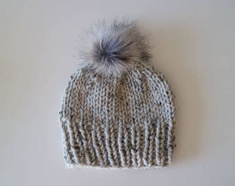 Chunky Handknit Faux Fur Beanie Hat - Oatmeal
