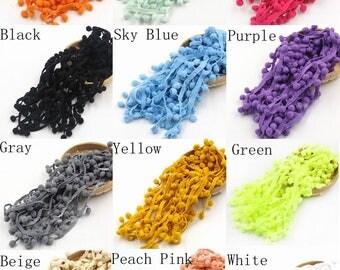 5 Yards Pom Pom Trim 10mm Ball Ribbon Sewing Accessory Pompom Tassel Plush Ball Fringe DIY Material - Many Color Choices