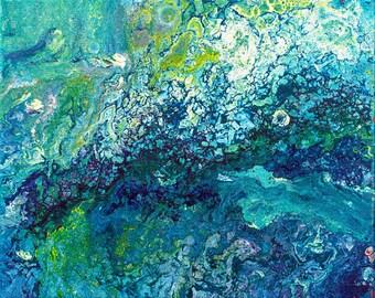 Poster Print Abstract schilderij, blauw schilderij, kunst aan de muur, klein schilderij, fluid painting, turquoise schilderij