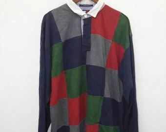 Vintage TOMMY HILFIGER Patch Polo Shirt Long Slevee Design Nice Design