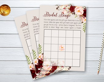 Bridal Bingo Bridal Shower Digital Printable Game Bridal Shower Wedding Quiz Marsala Burgundy Instant Download - BG-005