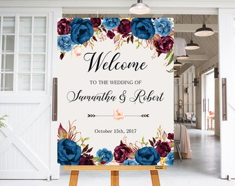 Wedding Welcome Sign Blue Marsala Burgundy Peonies Floral Boho Digital Wedding Reception Sign Bridal Wedding Welcome Poster WS-024
