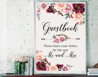 Guestbook Wedding Sign Digital Floral Vintage Burgundy Peash Pink Wedding Boho Printable Bridal Decor Poster Sign 5x7 and 8x10 - WS-030