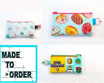 MADE TO ORDER - Large Coin Purse - Zipper Coin Pouch - Cute Coin Purse - Change Wallet - Zipper Bag - Card Wallet-  Gift Idea-