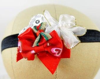 Black, Red, White Baby Headband - Valentine Headband  - Christmas Headband - Child Headband - Fancy Headband - Party Headband - Baby Shower