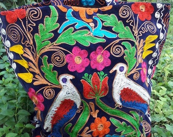 A Suzani Bag, Handbag, Handmade Embroidery of a Vintage Suzani.