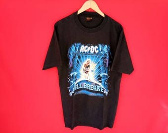 vintage acdc ball breaker rock metal band concert t shirt