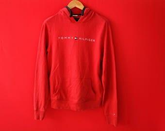 vintage tommy hilfiger small logo sweatshirt hooded xsmall size