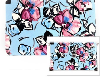 Light Blue & Pink Floral Fabric Section for Keep Changing Clutch