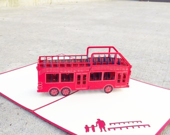 Double Decker 3D Pop Up Card, Bus Card, Red Bus Card, Bus Birthday Card, London Bus Card, Paper Bus Card, Handmade bus card, birthday card