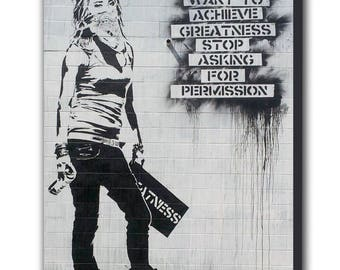 Banksy Achieve Greatness Masked Girl Canvas Wall Art Print