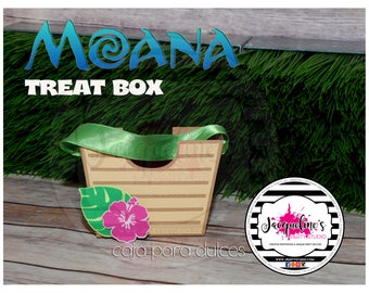 MOANA treat favor box, hawaiian favor box, Summer treat box SET of 6