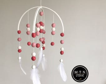 Felt ball & Feather Mobile - Painted Frame