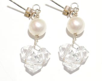 Swarovski Crystal and Freshwater Pearl Cluster silver earrings