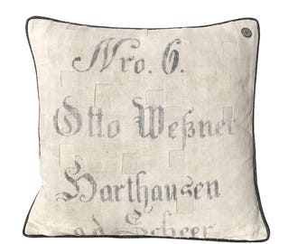 "Antique German Grain Sack Pillow from the 1800s  -  22"" x 22"""