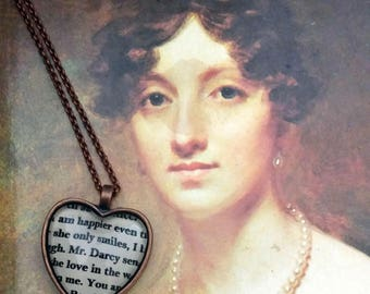 Pride and Prejudice Mr. Darcy heart necklace in (or Key Ring)