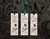 Jane Austen Bookmarks, with Quotations. Set of Three Small Paper Bookmarks, With Ribbon Detail. Literary Gift.