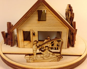 T - Miniature Wood Cabin with a LED LIGHT:  T -  Fishing Buddies, U - Hunting, V - Ducks, W - Kayaking, X - ATV Adventure and Y - Canoeing