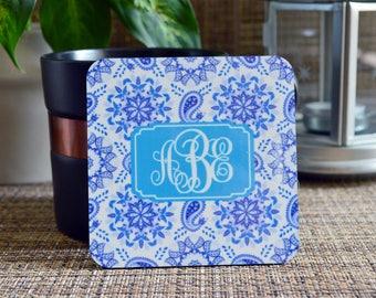 Personalized Coasters, Square Coaster Set, Housewarming Gift, monogrammed coasters, Paisley coasters, Custom Coasters. Wedding Gift. C01