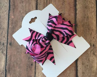 Zebra hair bow, zebra bows, balck and pink bows, animal print hair bows, pink hair bows, zebra hair accessories, zebra hair clips, hair bows