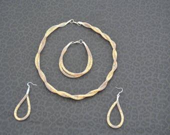 Necklace, bracelet, wire mesh earrings