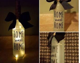 Home Sweet Home Wine Bottle Light