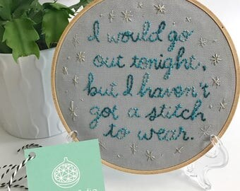 the smiths lyrics embroidery // this charming man embroidery art