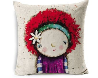 Kids Cartoon Animal Cushion Cover Girl With Red Hair Throw Pillow Case