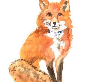 Fox art print , nursery woodland animal , watercolor fox , fox painting , forest animal art print , digital print download
