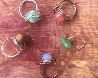 Wire Wrapped Authentic Gemstone Stackable Rings / Boho / Chic